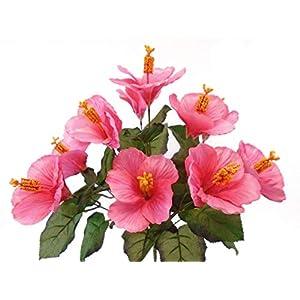 "Hibiscus Bush 10 Artificial Silk Flowers 18"" Bouquet 6215 Beauty 26"