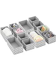 mDesign Soft Fabric Dresser Drawer and Closet Storage Organizer Set for Child/Kids Room, Nursery, Playroom - Organizing Bins in 2 Sizes - Polka Dot Pattern, Set of 12 - Gray/White