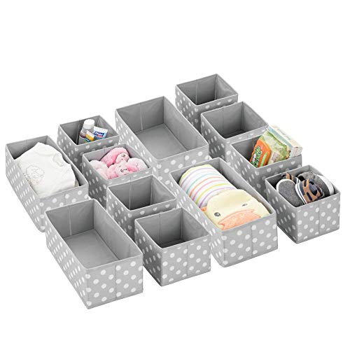 mDesign Soft Fabric Dresser Drawer and Closet Storage Organizer Set for Child/Kids Room, Nursery, Playroom – Organizing Bins in 2 Sizes – Polka Dot Pattern, Set of 12 – Gray/White