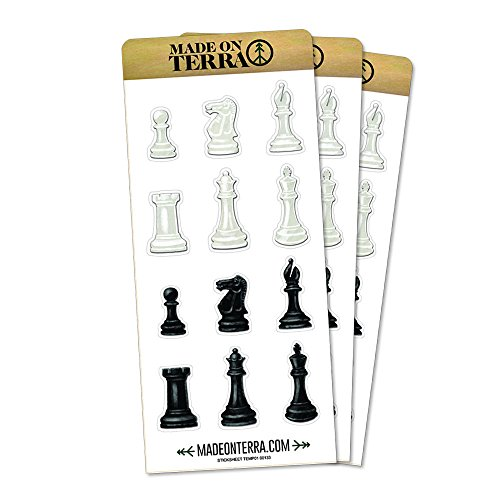 Black and White Chess Pieces Removable Matte Sticker Sheets Set