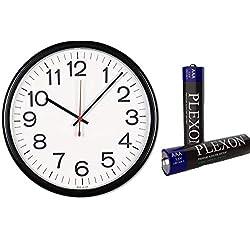 Universal Indoor/Outdoor Clock, 13 1/2-Inch, Black (11381) (Bundle Pack 1 Clock w/ Plexon Battery)