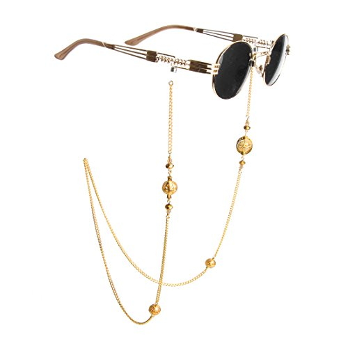 Kalevel Eyeglass Holder Necklace Eyeglass Chain Beaded Glasses Sunglasses Chain Eyeglass Chains and Cords for Women (Gold Glass Beaded Necklace)