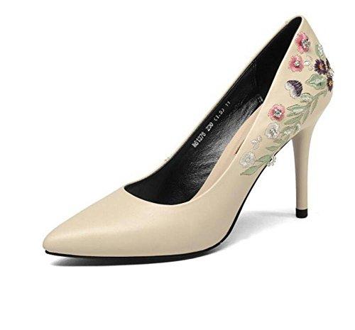 vera GAOGENX lavoro a da da tacco Scarpe ricamato scarpe EU36 donna pelle in 38 a spillo con taglia 35 IIgr1