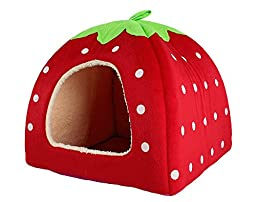 Leegoal Cute Soft Sponge White Dots Strawberry Pet Cat Dog House Bed With Warm Plush Pad(Red ,M)