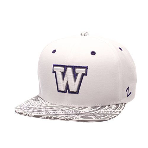 (NCAA Washington Huskies Men's Lahaina Snapback Cap, Adjustable Size, White)