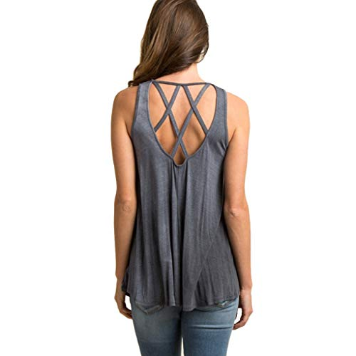 - Women Plus Size Tank Top Swing Shirt Criss Cross Camisole Lace Up Vest Top Solid Casual Summer Blouse