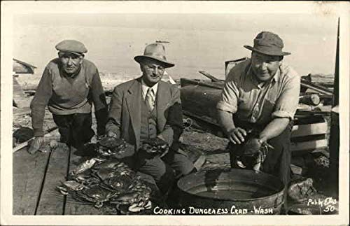 Three Men Cooking Dungeness Crabs Washington Original Vintage ()