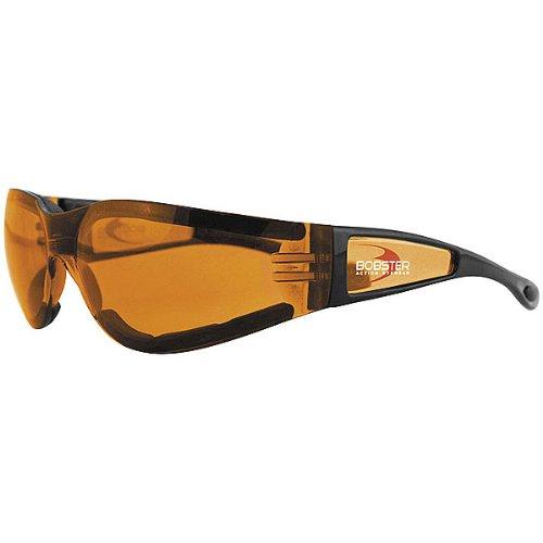 Bobster Shield II Adult Frameless Designer Sunglasses - Black/Amber / One Size Fits All