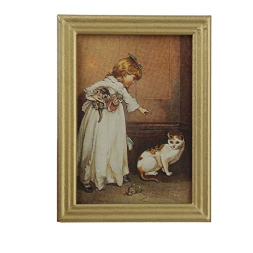 SODIAL(R) 1/12 Resin Frame Girls and Cat Wall Mural Pictures Doll House Miniatures