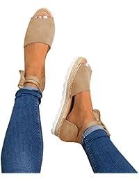 Womens Espadrilles Tie up Flat Sandals Peep Toe Classic Espadrille Shoes