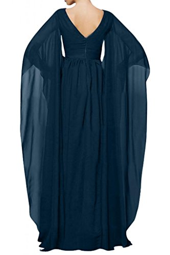 Elegante V-cuello de la Toscana novia largo Mangas Gasa madre de la novia por la noche vestidos de bola vestidos de fiesta de largo Tinta azul