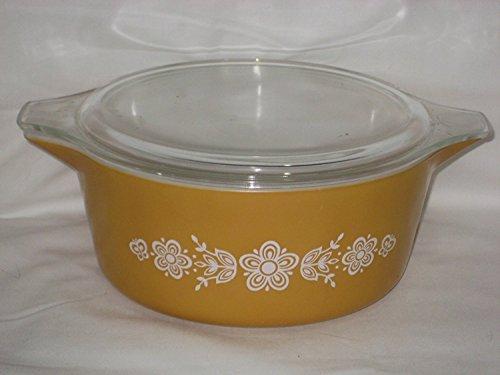 Vintage Corning Pyrex Butterfly Gold 2 1/2 Quart Round Casserole Baking Dish w/ Lid USA