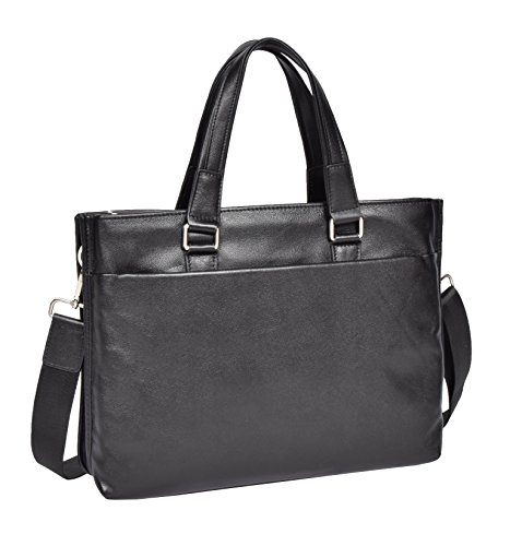 Women Black Leather Briefcase Office Bag A4 Files iPad Twin Zip Top Bag - Mabel