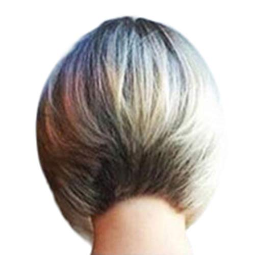 Markmall Wig ladies and short hair in Europe and America, short straight hair gradient platinum gold wig (Best Looking Women In Europe)