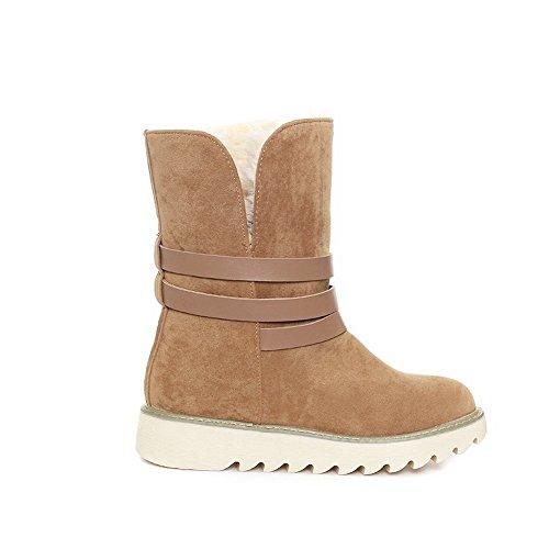 AdeeSu Ladies Platform Buckle Anti-Skidding Bottom Imitated Leather Boots Yellow s2sH8N