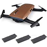 Littleice JJRC H47 Elfie Foldable Selfie Remote Control Mini Drone FPV Quadcopter With Two Extra Battery (gold)