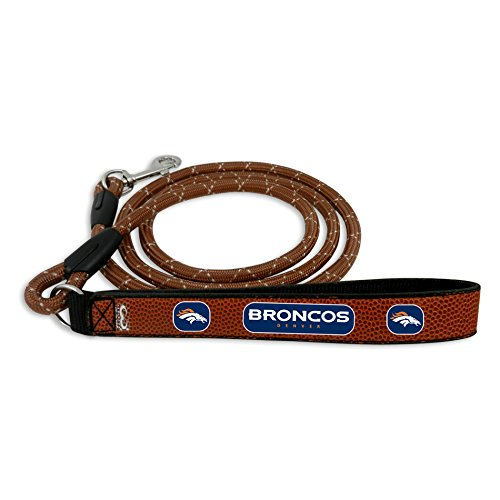NFL Denver Broncos Football Leather Rope Leash, Large, Brown