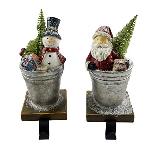- Santa & Snowman in Tin Buckets Festive Stocking Holders - Set of 2