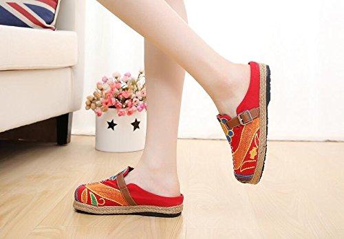 Cystyle Damen Sommer Slipper Espadrilles Hausschuhe Flache Schuhe aus Leinen Bestickte Bunte Schuhe Traditioneller Peking-Stil Rot