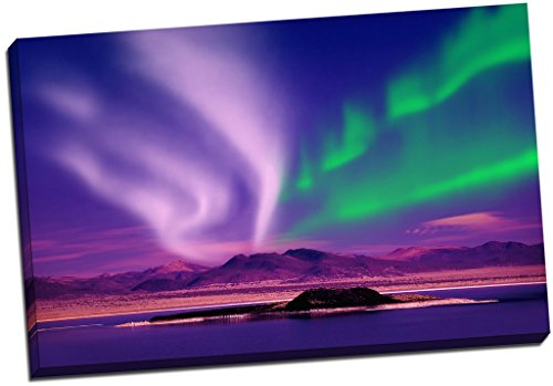 Panther Print Purple Island Northern Lights Aurelia Borealis Canvas Print Picture Wall Art Large 30X20 Inches (76.2Cm X 50.8Cm)