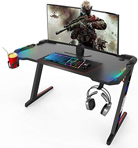 CNASA Gaming Desk,Premium Home Office PC Computer Table for Gamer Pro, Black Gaming Desks Workstation with RGB LED Lights,Cup Holder, Headphone Hook,Storage and a pair of Cable Management Holes