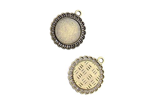 120 Pieces Jewelry Making Charms Pendant Ancient Bronze Color Retro Findings Supplies GFV7BF2 Round Setting Blanks Cabochon Frame