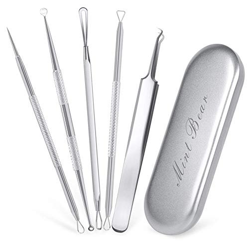 Blackhead Remover Kit Set 5 - Comedone Extractor Pimple Popper Acne Blemish Spots Remover - Metal Case - Facial Treatment Popping Zit Removing by ()