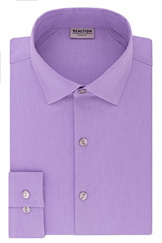 Kenneth Cole REACTION Men's Dress Shirt Technicole Slim Fit Stretch Solid, English Violet, 15