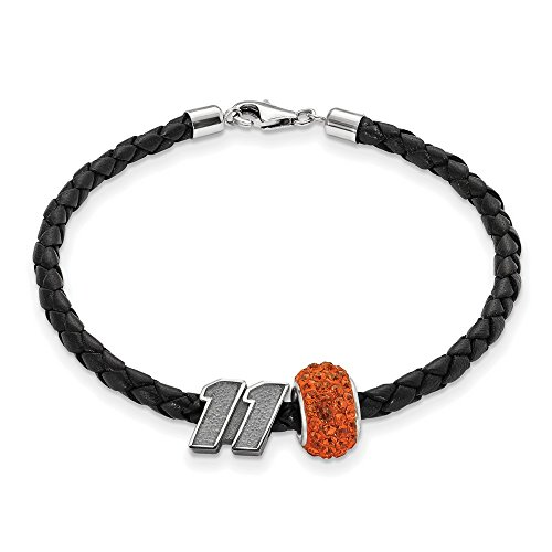 Denny Hamlin #11 Sterling Silver Orange Crystal Bead & Black Leather Bracelet by Jewelry Stores Network