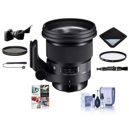 Sigma 105mm f/1.4 DG Art HSM Lens for Sony E-Mount - Bundle with 105mm UV Filter, 105mm CPL Filter, Flex Lens Shade, Lens Wrap, Cleaning Kit, Capleash II, Lenspen Lens -