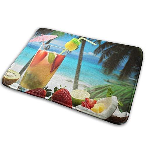 (Jingclor Welcome Doormat, Entrance Floor Mat Rug Indoor Outdoor Front Door Mat with Non-Slip Rubber Backing, Printing Doormats with Fruity Cocktail Photography Art,)