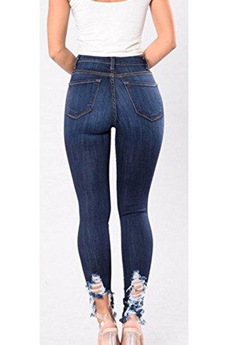 Jeans Alta Hueco Leggings Rasgado Mujeres Azul Cintura Agujero Fuera Skinny Grandes Bodycon Las Tallas De Casual PtTqxPgR