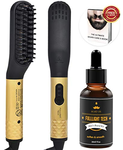 Beard Straightener, Hair Straightener Brush,Quick Electric Heated Beard Hair Brush Comb with FREE Beard Oil and Beard E-Book,Great Gifts for Men Women (Gold)