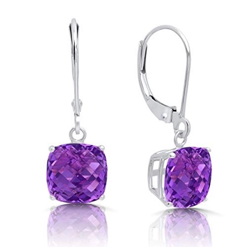 (14k White Gold Amethyst Dangle Leverback Earrings (8mm))