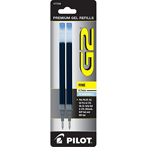 PILOT G2 Gel Ink Refills For Rolling Ball Pens, Fine Point, Periwinkle Ink, 2-Pack (77258)