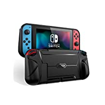 UGREEN Funda para Nintendo Switch, Protectora TPU con Stand Compatible con Joy-con, Shock-Absorción Case con Diseño Ergonómico (Negro)