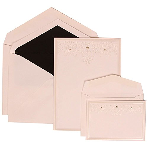 JAM Paper Wedding Invitation Combo Sets - 1 Small & 1 Large - White Card with Jewels with Black Lined Envelope with Ivory Heart Jewel - 150/pack by JAM Paper