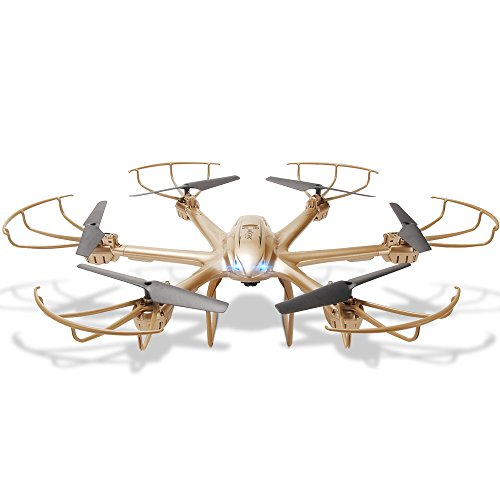 GizmoVine MJX RC Quadcopter X601H 6-AXIS GYRO Drone with Wifi HD Video FPV Real-time Camera 4 Channels 2.4G Helicopter RTF , with Headless Mode Altitude-Hold One Key Return 3D Roll Function, Golden