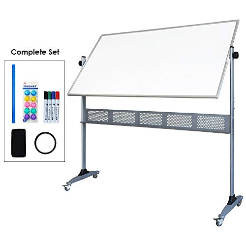 XIWODE Large Double-Sided Magnetic Mobile Whiteboard, Rolling Dry Erase Board with Stand, Portable White Board on Wheels, 60 X 36 Inch, Silver Aluminium Frame