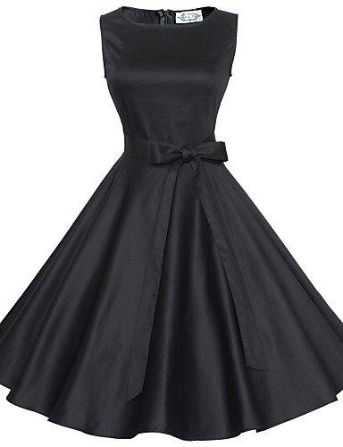 PU&PU Robe Aux femmes Grandes Tailles / Vintage / Soirée / Travail / Décontracté Bateau Mi-long Coton , black-s , black-s