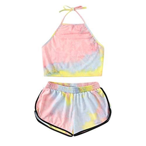 Dreamyth-sets 2Pcs Women's Print 2 Piece Set Halter Crop Top and Shorts Set (Pink, S)