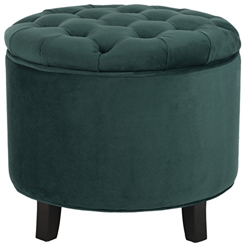 Safavieh Hudson Collection Amelia Tufted Storage Ottoman, Marine (Footstools For Upholstered Sale)