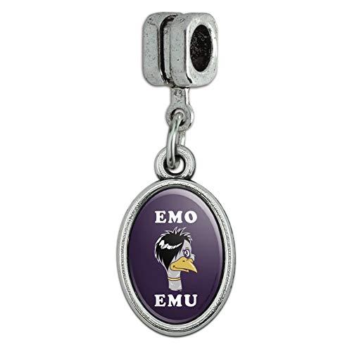 GRAPHICS MORE Emo Emu Funny Humor Italian Bracelet Oval Charm Bead