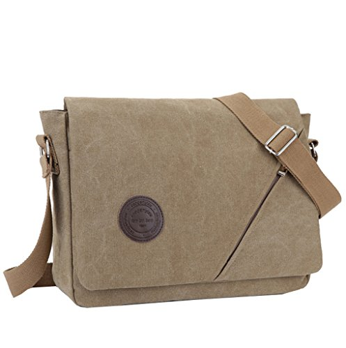 Super moderno para hombre Vintage Canvas hombro Messenger Bag Crossbody Bolsa de Trabajo/día portátil bolsa para Escuela de Negocios Traval uso diario, hombre, caqui caqui