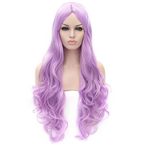 Flovex Women Long Wavy Cosplay Wigs Ladies Sexy Natural Costume Club Party Daily Hair with Wig Cap (Light Purple)