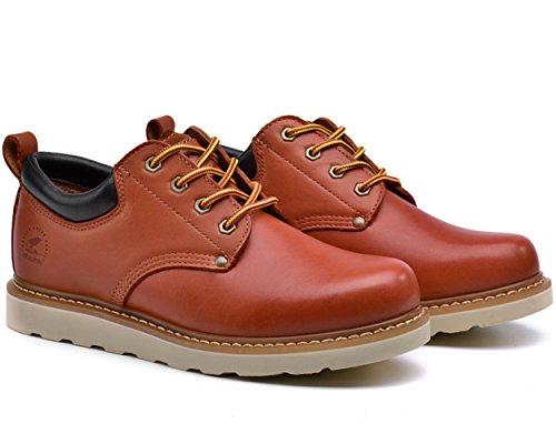 Insun Mens Rundleer Veters Werkschoenen Roodachtig Bruin
