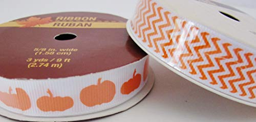 Scrapbooking Bows Ribbon 5/8 - Halloween Fall Pumpkin Chevron Ribbon 5/8