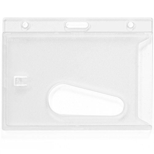 CKB Ltd 100x Clear Enclosed Rigid with Ejection Slot Closed Faced ID Card Badge Holders Single Sided Horizontal/Landscape Identity Plastic Pass Protector - Holds a cr-80 Credit Card Sized