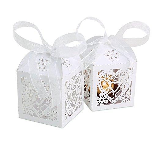 25pcs Luxury Laser Cut Sweets Heart Boxes White