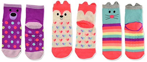 The Children's Place Girls' Midi Socks (3-Pack),Critter,2T - 3T